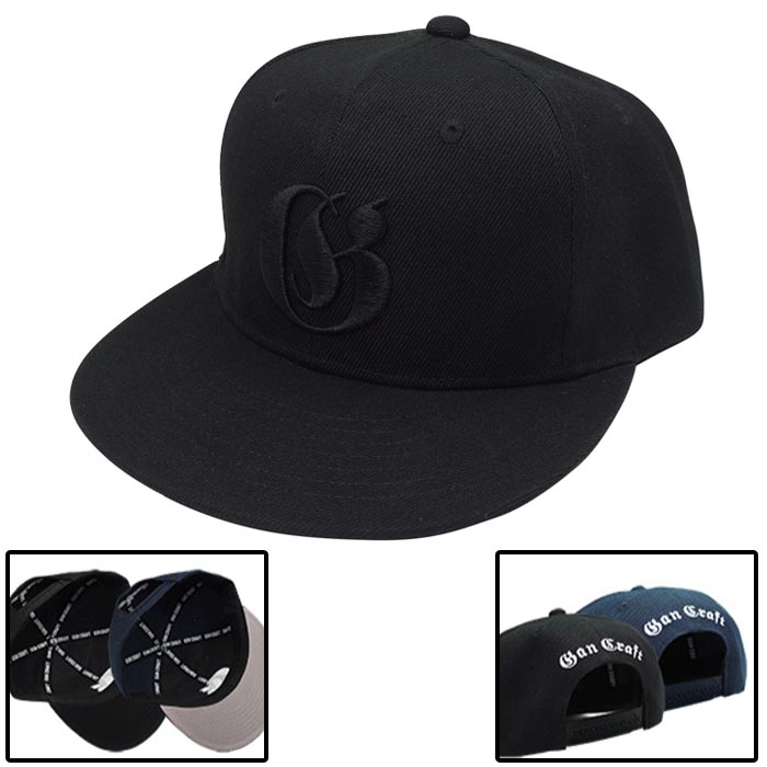 OLD ENGLISH SNAPBACK CAP BLACK/ BLACK LOGO